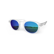 beautiful Sunglasses L+ Crystal, Sky Blue Mirror Lenses by the side. Polarized sunglasses Blueberry