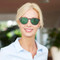 beautiful blonde woman with red Polarized sunglasses clip on specifically build for tha amazing blue light blocking glasses Blueberry Glasses size M