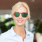 beautiful blonde woman with Polarized sunglasses clip on specifically build for tha amazing blue light blocking glasses Blueberry Glasses size M