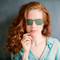 beautiful woman with red hair Polarized sunglasses clip on specifically build for tha amazing blue light blocking glasses Blueberry Glasses size XL