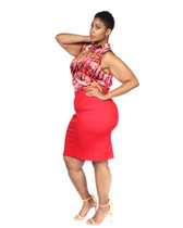 2pc red skirt set with multi red black pullover wrap front top