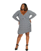 Navy blue and white  print ambassador faux wrap dress long sleeves.