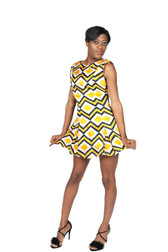 Yellow and black zigzag mini dress