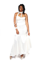 Off white stretch satin gown, fitted tulip bottom