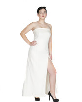 Crème strapless gown with front split