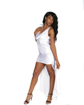 White Crepe Back Satin High Low Gown