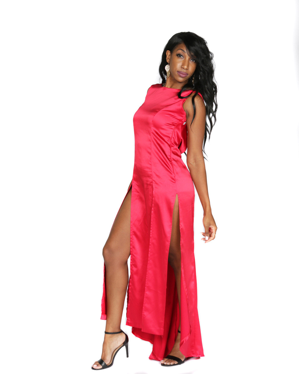 27d5b56c2c Red Stretch Satin Gown - J Bri Designs