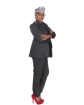 2pc steel grey pant suit(head band sold separately)
