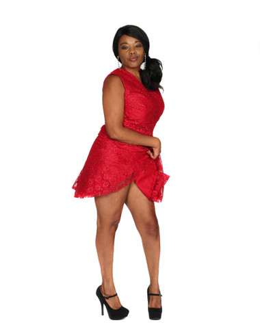 Red and silver lace overlay dress