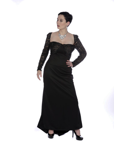 Black scuba and vintage lace open front gown