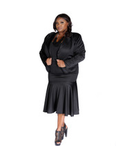 Black 2pc scuba skirt and dolman sleeves jacket suit