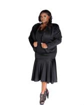 Black 2pc scuba skirt and dolman sleeves jacket suit