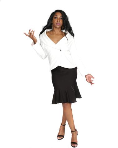 Off white corduroy blazer jacket and black with off white stripe tulip skirt