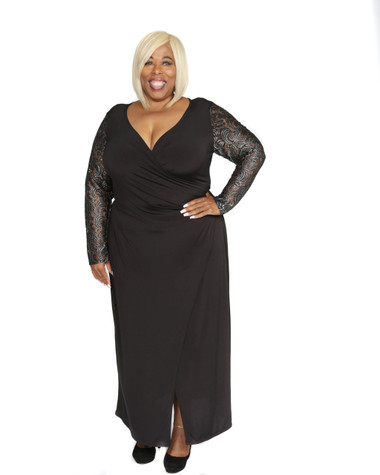 Black ITY faux wrap maxi dress with silver and black lace sleeve, tie belt