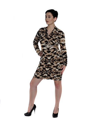Black tan and white multi color fitted ambassador dress