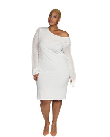 Cream ITY off the shoulder mesh sleeves dress