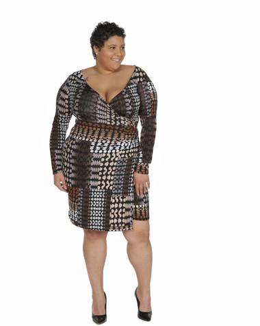 Brown multi color faux wrap ambassador dress