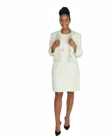 Lime green with black and white pinstripe 2pc jacket and sheath dress