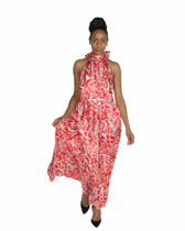 Red multi color flower print maxi dress