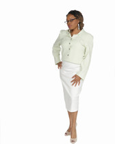2pc lime green jacket and crème stretch linen skirt