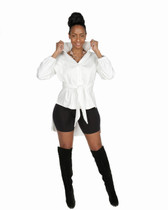2pc white and black biker short set