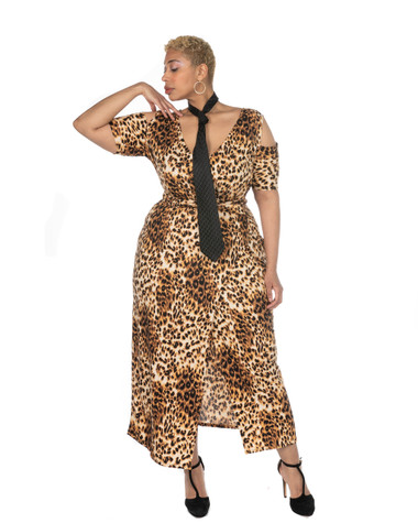 Leopard print faux wrap ambassador maxi dress