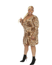 Leopard print faux wrap ambassador dress