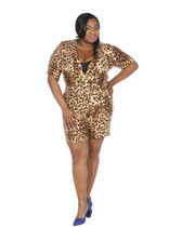 Leopard faux wrap ambassador romper.