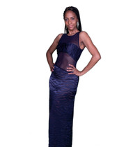 Navy Blue Satin and Georgette Evening Gown, Sheer Upper Bodice