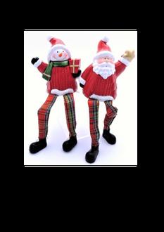 Santa & Snowman Porcelain Shelf Sitters 9cm