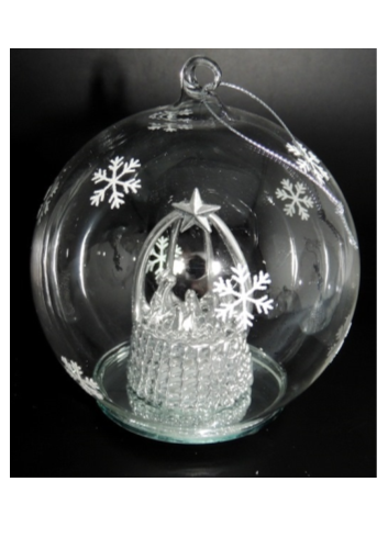 Light Up Ball With Silver Nativity 10cm Endeavour