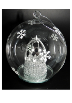 Light up Ball with SILVER Nativity - 10cm