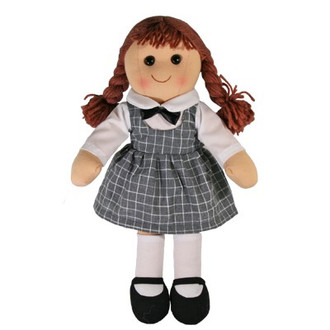 Hopscotch Doll Penelope - Grey checked dress and white top.