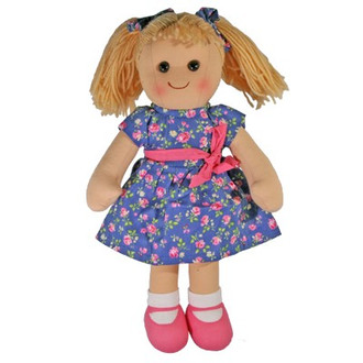 Hopscotch Doll Rosie - Blue floral dress with pink bow.