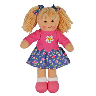 Hopscotch Doll Lizzie - Pink knitted top with blue floral skirt.