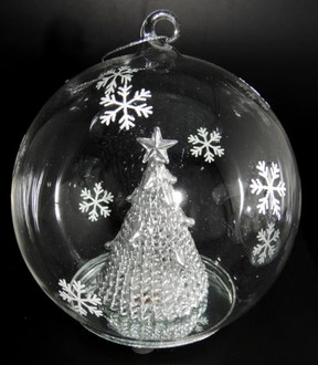 Lightup Glass Ball with Silver Tree - 12cm