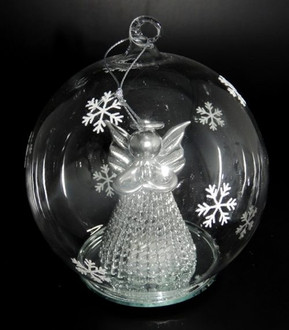 Lightup Glass Ball with Silver Angel - 12cm