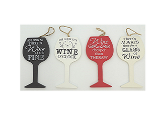 Wine Glass Hanging Signs - 4 assorted