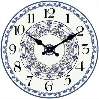 Blue Floral Clock 30cm