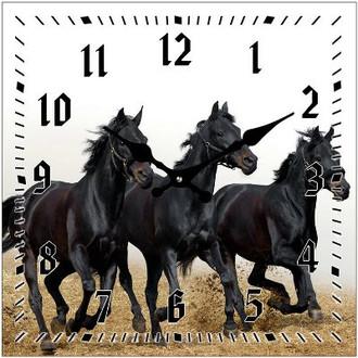 Clock Horse Black 17cm