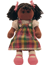 Hopscotch Doll Rhianna - Checked coloured dress with pink shoes.