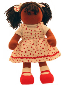 Hopscotch Doll Jessica - White dress with red spots.