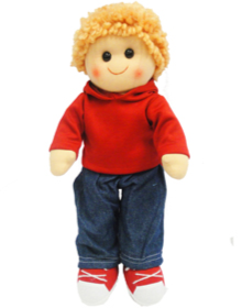 Hopscotch Doll Elliot - Boy doll with jeans,  red hoodie and red track shoes.