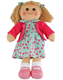 Hopscotch Doll Isabella - Mint green dress with cherry pattern and pink jacket.