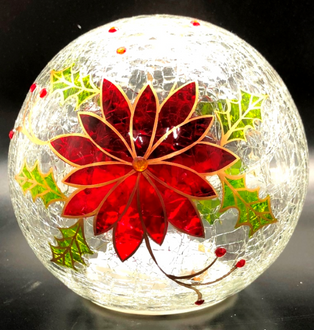 Poinsettia Ball Lightup 15cm