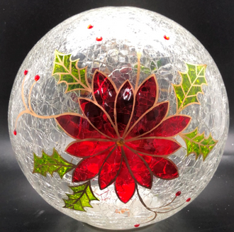 Poinsettia Ball Lightup 20cm