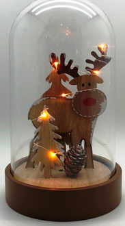 Deer in Dome Lightup 23cm