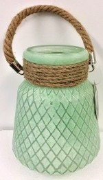 Glass Vase with Rope 20cm - Teal