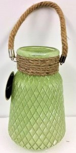 Glass Vase with Rope 25cm Green