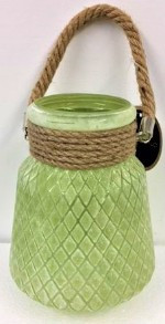 Glass Vase with Rope 20cm Green